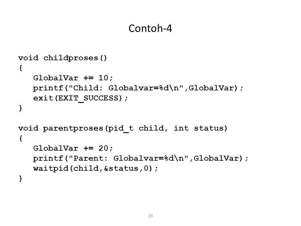 16 Contoh-4 void childproses() { GlobalVar += 10; printf(