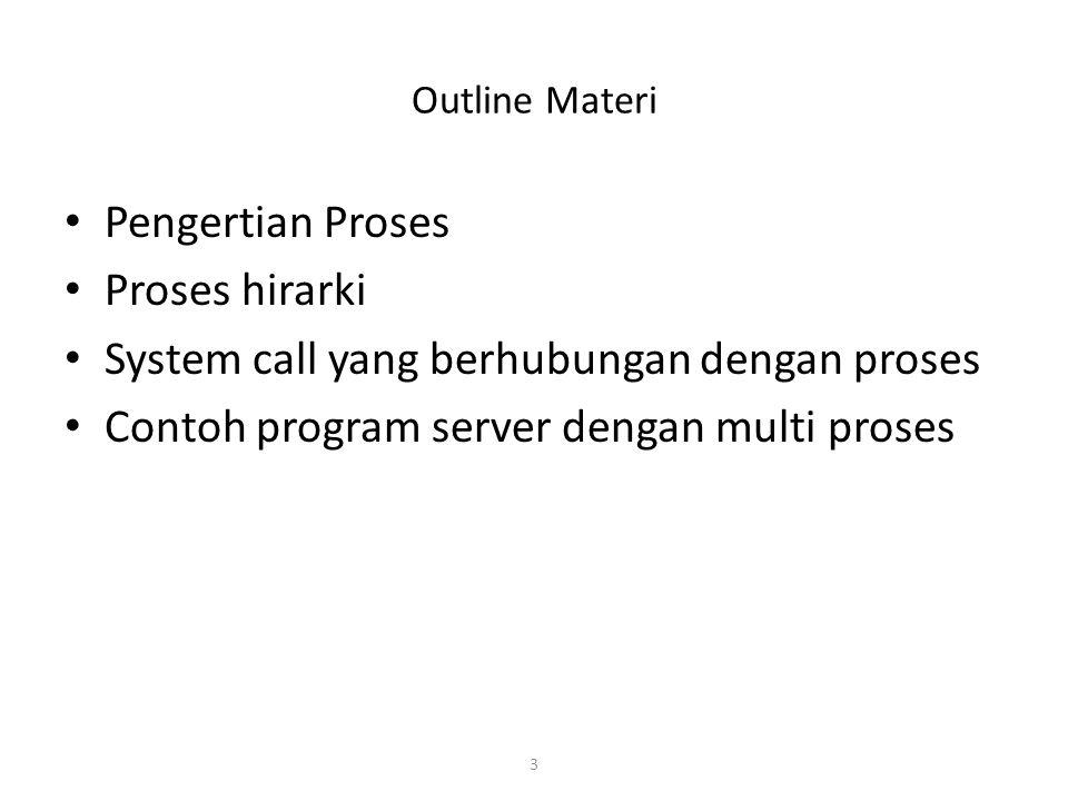 3 Outline Materi Pengertian Proses Proses hirarki System call yang berhubungan dengan proses Contoh program server dengan multi proses