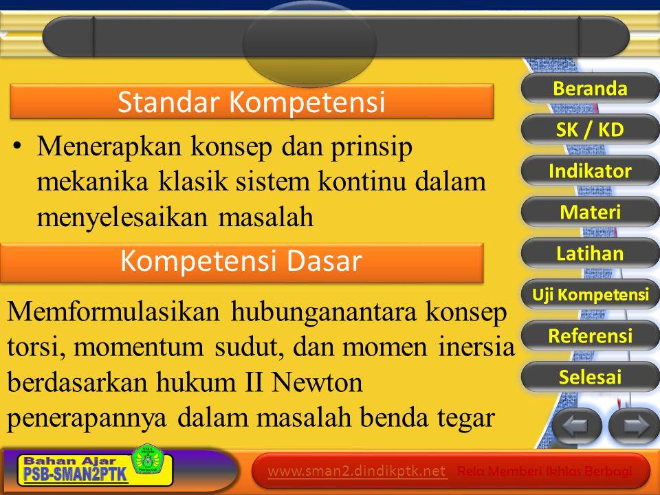 www.sman2.dindikptk.net www.sman2.dindikptk.net Rela Memberi Ikhlas Berbagi www.sman2.dindikptk.net www.sman2.dindikptk.net Rela Memberi Ikhlas Berbagi Indikator Pencapaian 1.Menjelaskan pengertian Momen Inersia 2.Menjelaskan definisi Momen Inersia 3.Menyebutkan Besar Momen Inersia dari berbagai benda Beranda SK / KD Indikator Materi Latihan Uji Kompetensi Referensi Selesai