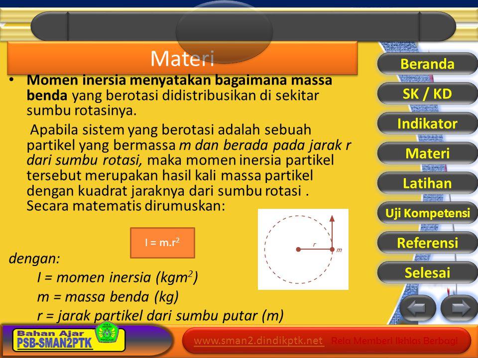 www.sman2.dindikptk.net www.sman2.dindikptk.net Rela Memberi Ikhlas Berbagi www.sman2.dindikptk.net www.sman2.dindikptk.net Rela Memberi Ikhlas Berbagi Jika terdapat sejumlah partikel yang melakukan gerak rotasi, maka momen inersia total merupakan jumlah momen inersia setiap partikel.