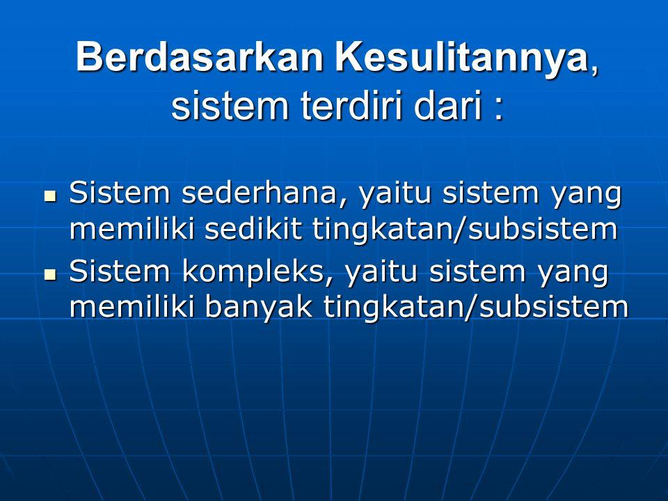 Berdasarkan Kesulitannya, sistem terdiri dari : Sistem sederhana, yaitu sistem yang memiliki sedikit tingkatan/subsistem Sistem sederhana, yaitu siste