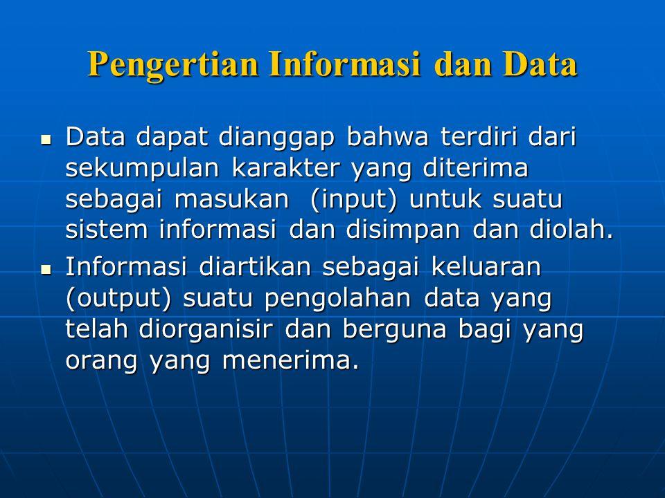 Pengertian Informasi dan Data Data dapat dianggap bahwa terdiri dari sekumpulan karakter yang diterima sebagai masukan (input) untuk suatu sistem info