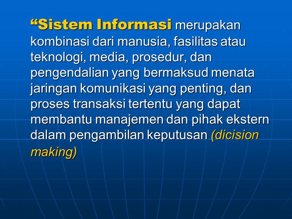 """""""Sistem Informasi merupakan kombinasi dari manusia, fasilitas atau teknologi, media, prosedur, dan pengendalian yang bermaksud menata jaringan komunik"""