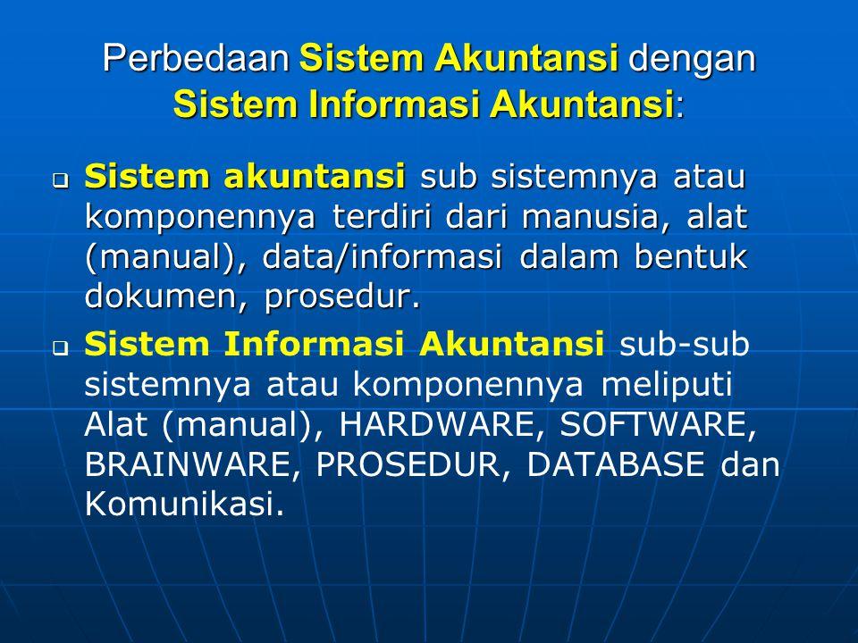 Perbedaan Sistem Akuntansi dengan Sistem Informasi Akuntansi:  Sistem akuntansi sub sistemnya atau komponennya terdiri dari manusia, alat (manual), d