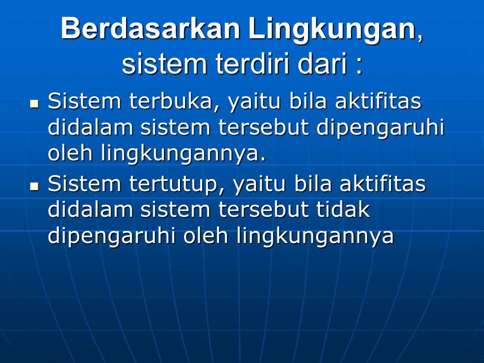 Berdasarkan Lingkungan, sistem terdiri dari : Sistem terbuka, yaitu bila aktifitas didalam sistem tersebut dipengaruhi oleh lingkungannya. Sistem terb