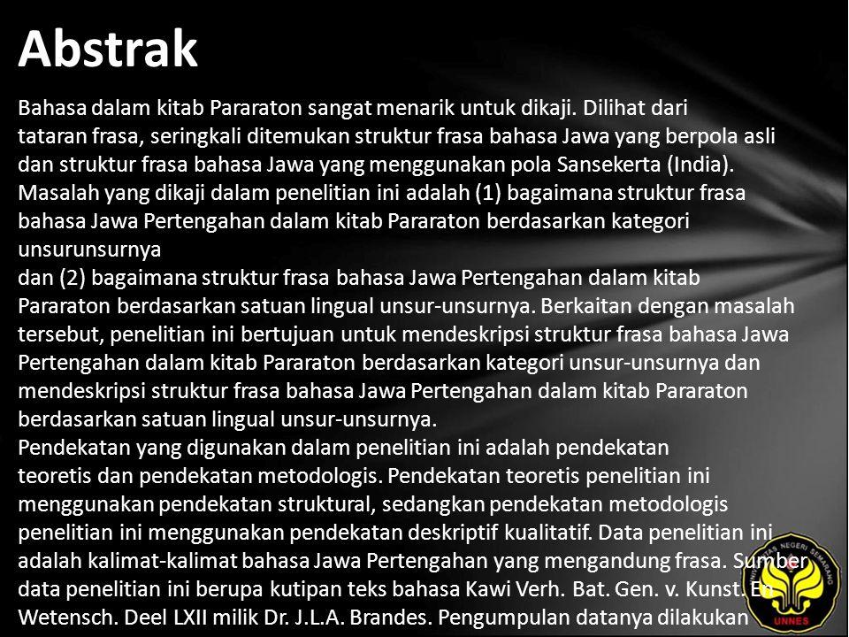Kata Kunci struktur frasa, bahasa Jawa Pertengahan