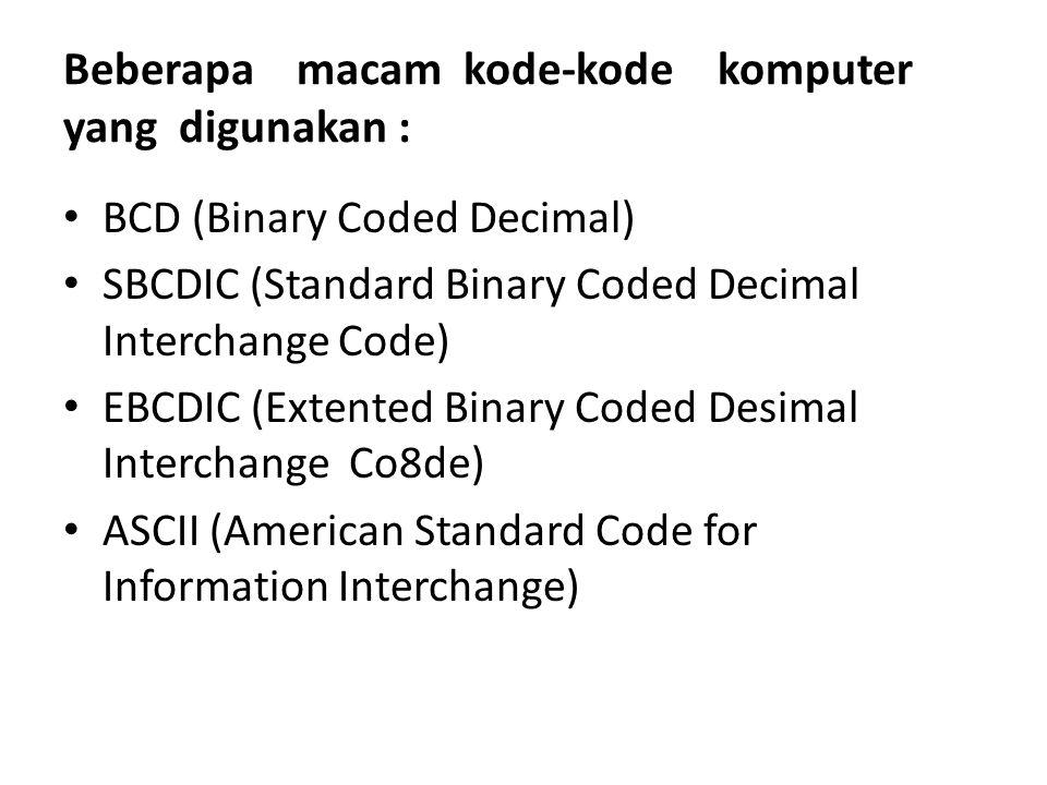 Beberapa macam kode-kode komputer yang digunakan : BCD (Binary Coded Decimal) SBCDIC (Standard Binary Coded Decimal Interchange Code) EBCDIC (Extented
