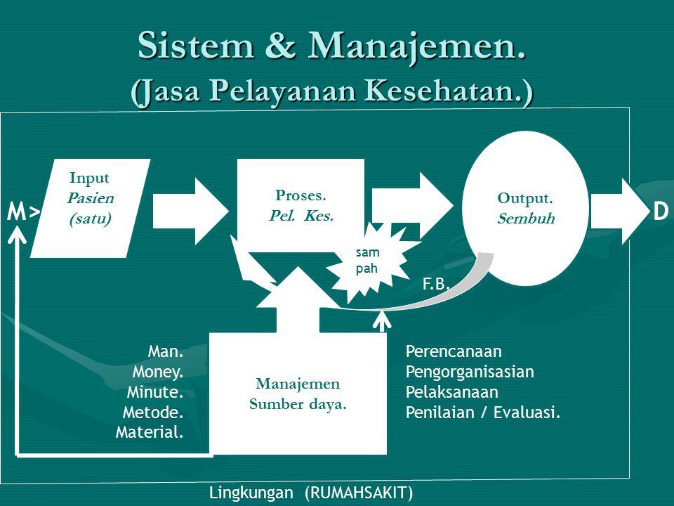 Sistem & Manajemen. (Jasa Pelayanan Kesehatan.) Input Pasien (satu) Proses. Pel. Kes. Manajemen Sumber daya. Man. Money. Minute. Metode. Material. Per