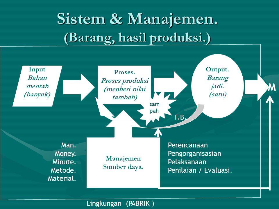 Sistem & Manajemen. (Barang, hasil produksi.) Input Bahan mentah (banyak) Proses. Proses produksi (menberi nilai tambah) Manajemen Sumber daya. Man. M