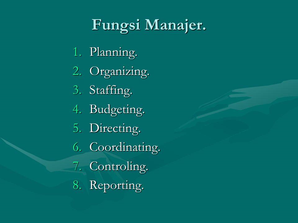 Fungsi Manajer. 1.Planning. 2.Organizing. 3.Staffing. 4.Budgeting. 5.Directing. 6.Coordinating. 7.Controling. 8.Reporting.