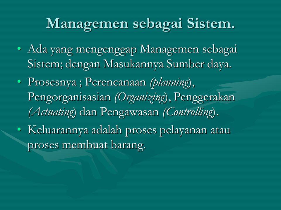 Managemen sebagai Sistem. Ada yang mengenggap Managemen sebagai Sistem; dengan Masukannya Sumber daya.Ada yang mengenggap Managemen sebagai Sistem; de