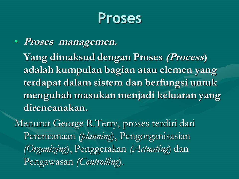 Proses Proses managemen.Proses managemen. Yang dimaksud dengan Proses (Process) adalah kumpulan bagian atau elemen yang terdapat dalam sistem dan berf