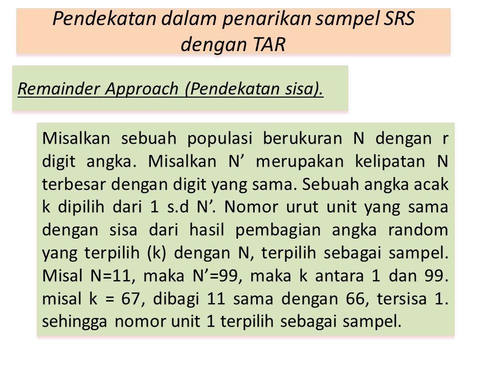 Remainder Approach (Pendekatan sisa). Pendekatan dalam penarikan sampel SRS dengan TAR Misalkan sebuah populasi berukuran N dengan r digit angka. Misa