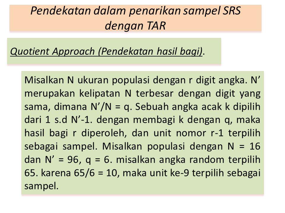 Quotient Approach (Pendekatan hasil bagi). Pendekatan dalam penarikan sampel SRS dengan TAR Misalkan N ukuran populasi dengan r digit angka. N' merupa