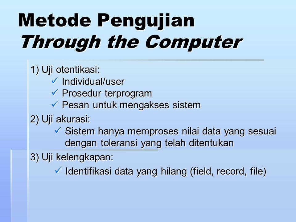 Metode Pengujian Through the Computer 1) Uji otentikasi: Individual/user Individual/user Prosedur terprogram Prosedur terprogram Pesan untuk mengakses sistem Pesan untuk mengakses sistem 2) Uji akurasi: Sistem hanya memproses nilai data yang sesuai dengan toleransi yang telah ditentukan Sistem hanya memproses nilai data yang sesuai dengan toleransi yang telah ditentukan 3) Uji kelengkapan: Identifikasi data yang hilang (field, record, file) Identifikasi data yang hilang (field, record, file)