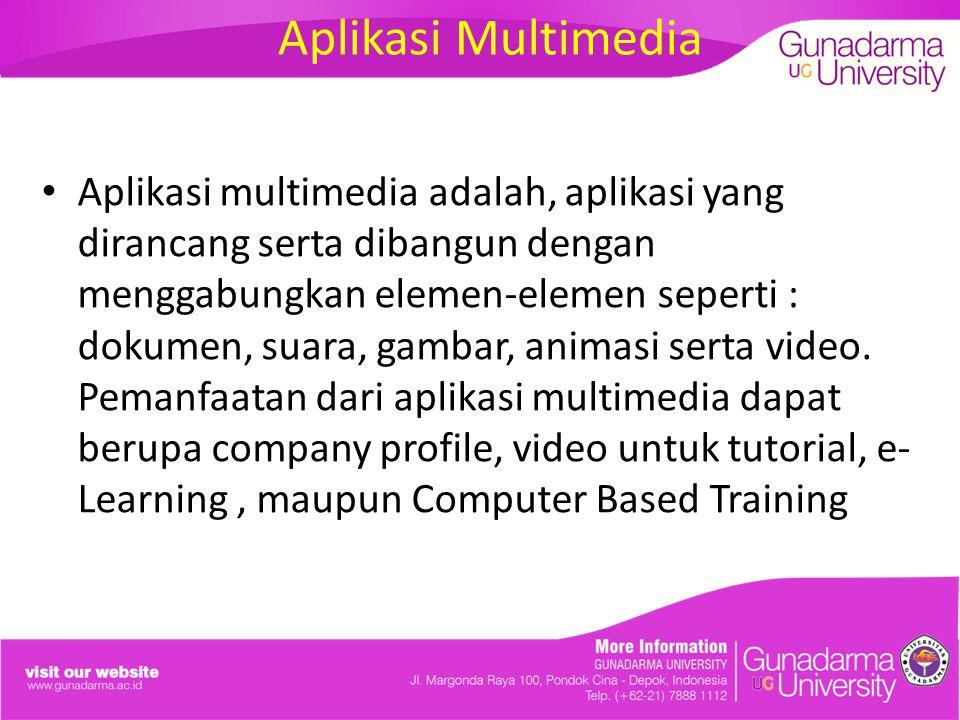 Aplikasi Multimedia Aplikasi multimedia adalah, aplikasi yang dirancang serta dibangun dengan menggabungkan elemen-elemen seperti : dokumen, suara, gambar, animasi serta video.