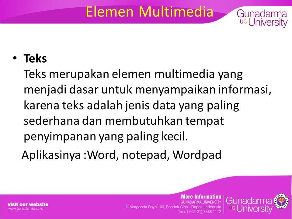 Elemen Multimedia Teks Teks merupakan elemen multimedia yang menjadi dasar untuk menyampaikan informasi, karena teks adalah jenis data yang paling sederhana dan membutuhkan tempat penyimpanan yang paling kecil.