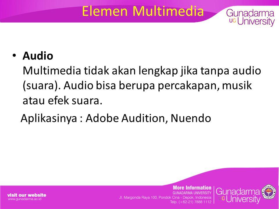 Elemen Multimedia Audio Multimedia tidak akan lengkap jika tanpa audio (suara). Audio bisa berupa percakapan, musik atau efek suara. Aplikasinya : Ado