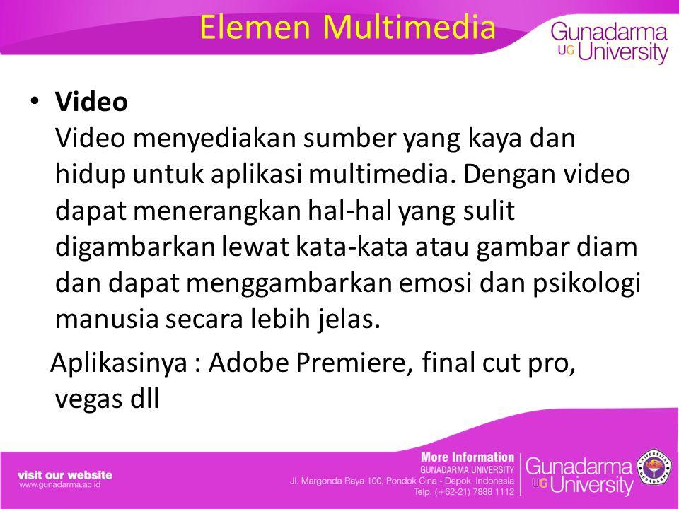 Elemen Multimedia Video Video menyediakan sumber yang kaya dan hidup untuk aplikasi multimedia. Dengan video dapat menerangkan hal-hal yang sulit diga