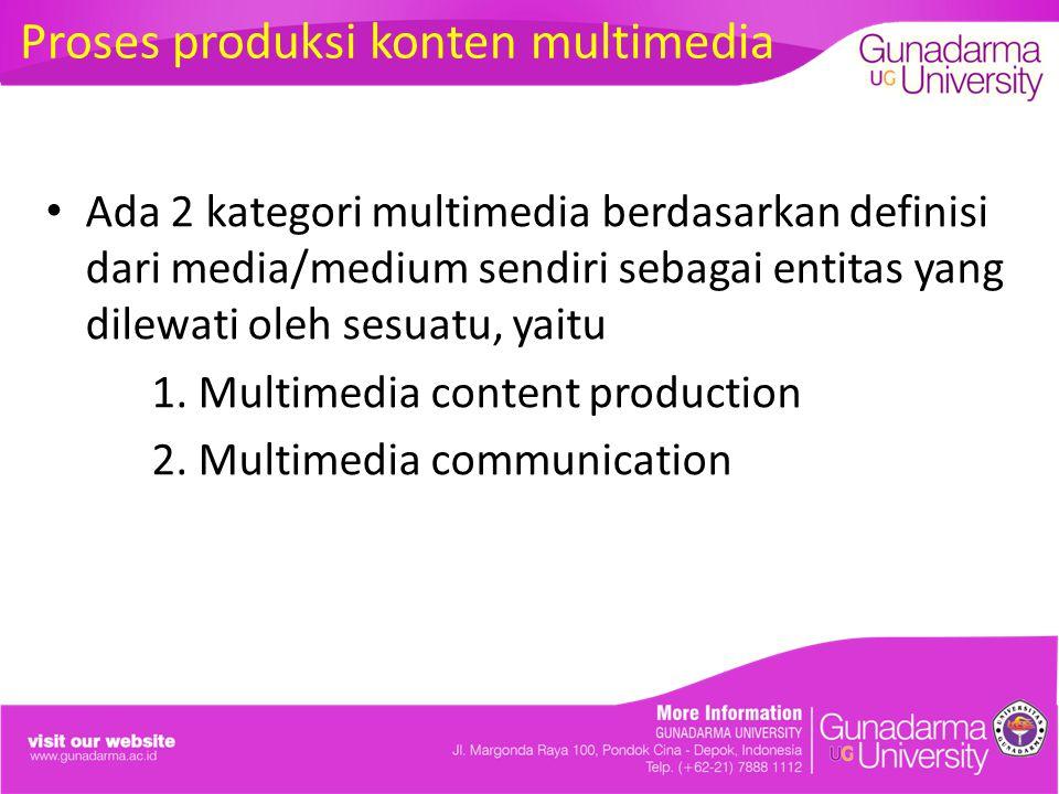 Proses produksi konten multimedia Ada 2 kategori multimedia berdasarkan definisi dari media/medium sendiri sebagai entitas yang dilewati oleh sesuatu, yaitu 1.