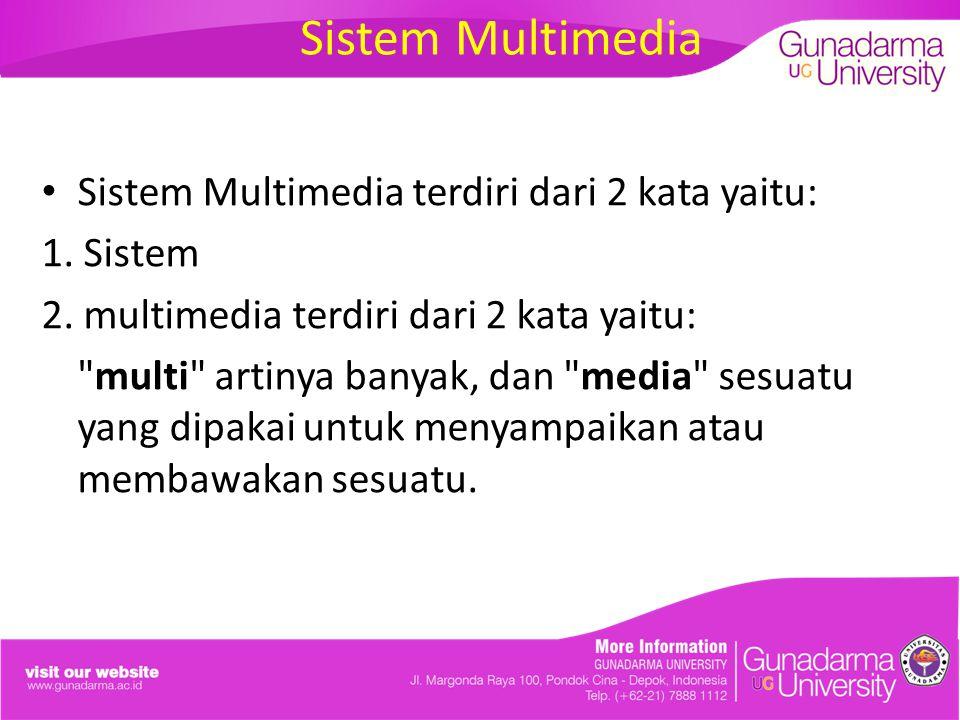 Sistem Multimedia terdiri dari 2 kata yaitu: 1. Sistem 2. multimedia terdiri dari 2 kata yaitu: