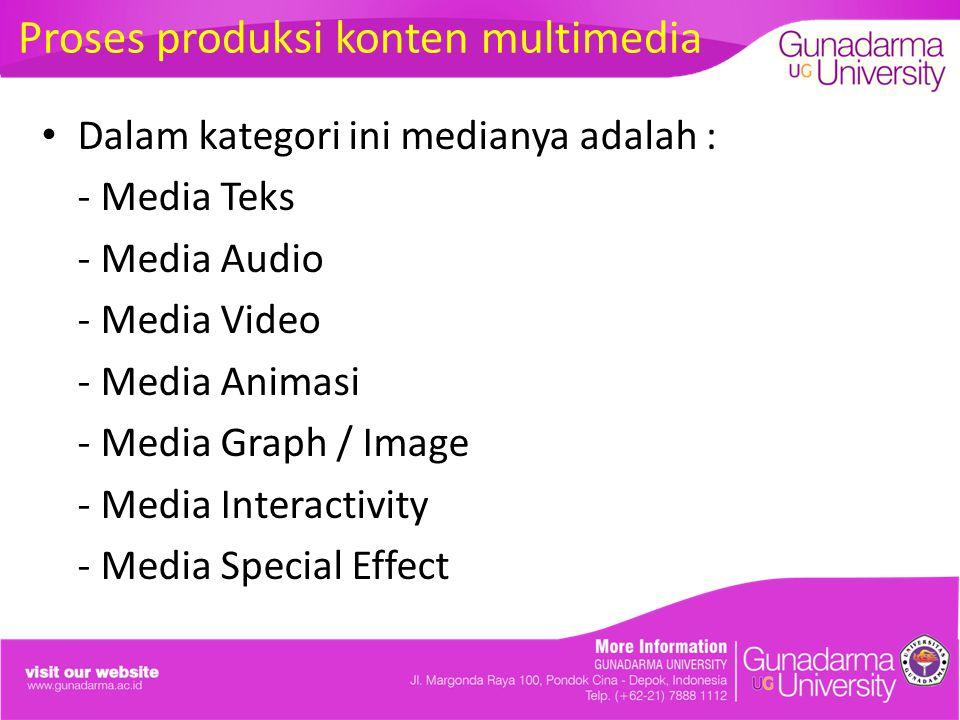Proses produksi konten multimedia Dalam kategori ini medianya adalah : - Media Teks - Media Audio - Media Video - Media Animasi - Media Graph / Image - Media Interactivity - Media Special Effect