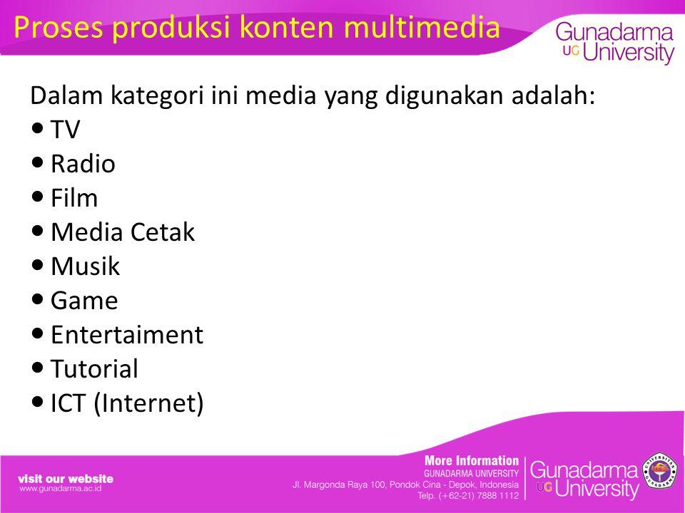 Proses produksi konten multimedia Dalam kategori ini media yang digunakan adalah: TV Radio Film Media Cetak Musik Game Entertaiment Tutorial ICT (Internet)
