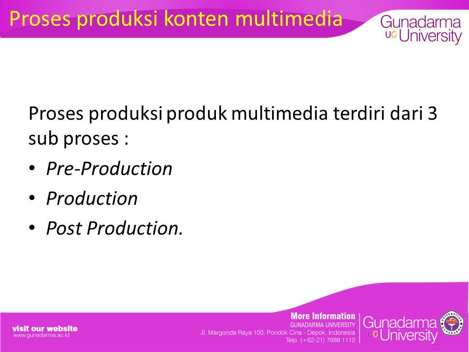 Proses produksi produk multimedia terdiri dari 3 sub proses : Pre-Production Production Post Production. Proses produksi konten multimedia
