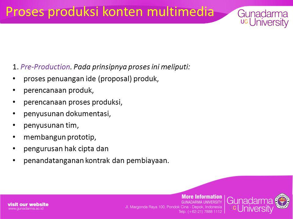 1. Pre-Production. Pada prinsipnya proses ini meliputi: proses penuangan ide (proposal) produk, perencanaan produk, perencanaan proses produksi, penyu
