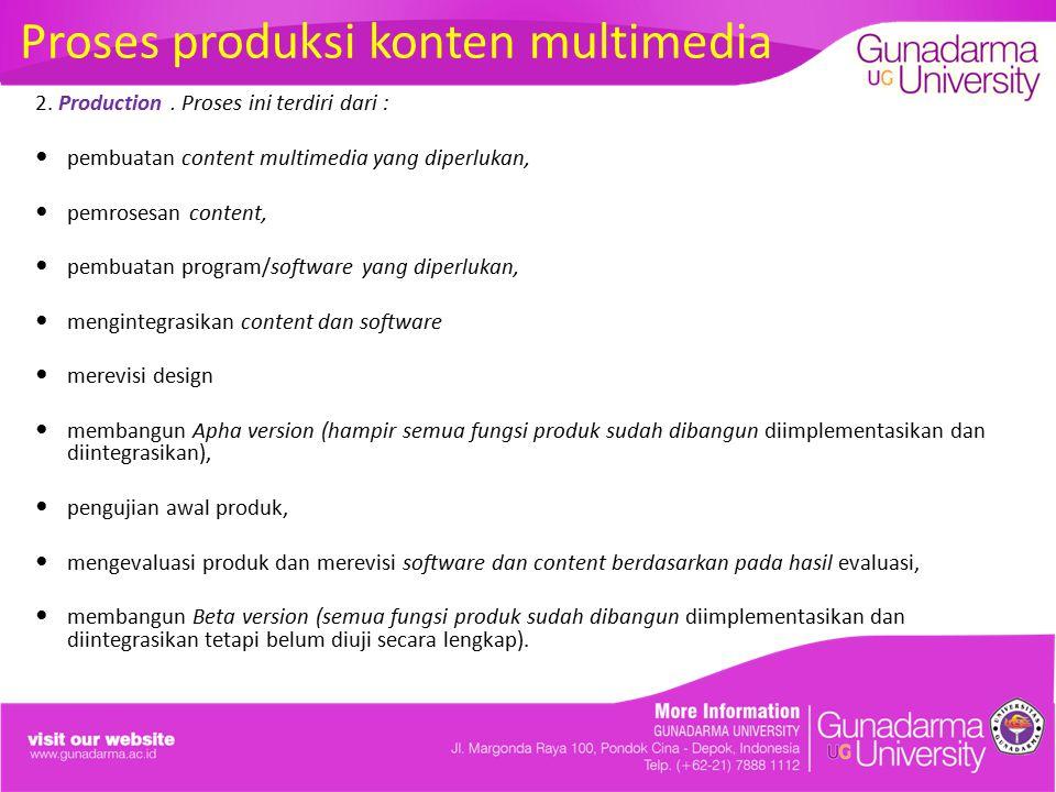 Proses produksi konten multimedia 2. Production. Proses ini terdiri dari : pembuatan content multimedia yang diperlukan, pemrosesan content, pembuatan