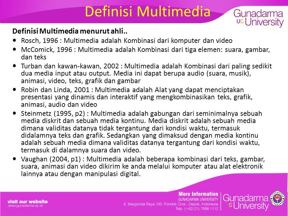 Definisi Multimedia Definisi Multimedia menurut ahli.. Rosch, 1996 : Multimedia adalah Kombinasi dari komputer dan video McComick, 1996 : Multimedia a