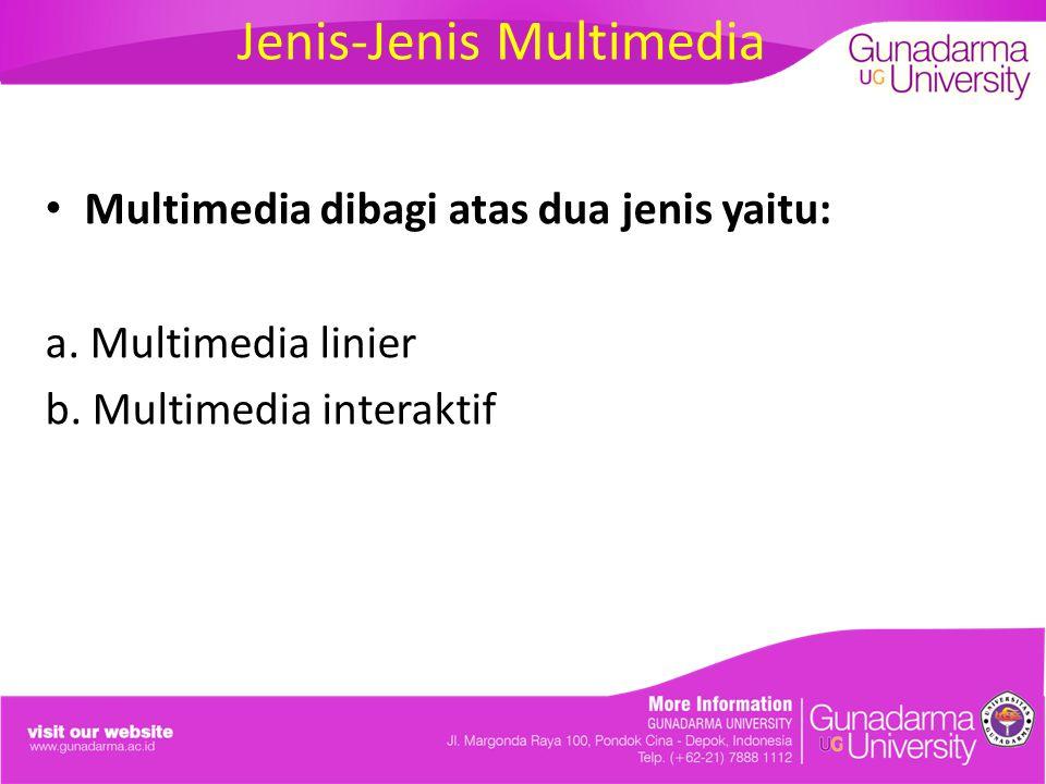 Jenis-Jenis Multimedia Multimedia dibagi atas dua jenis yaitu: a. Multimedia linier b. Multimedia interaktif