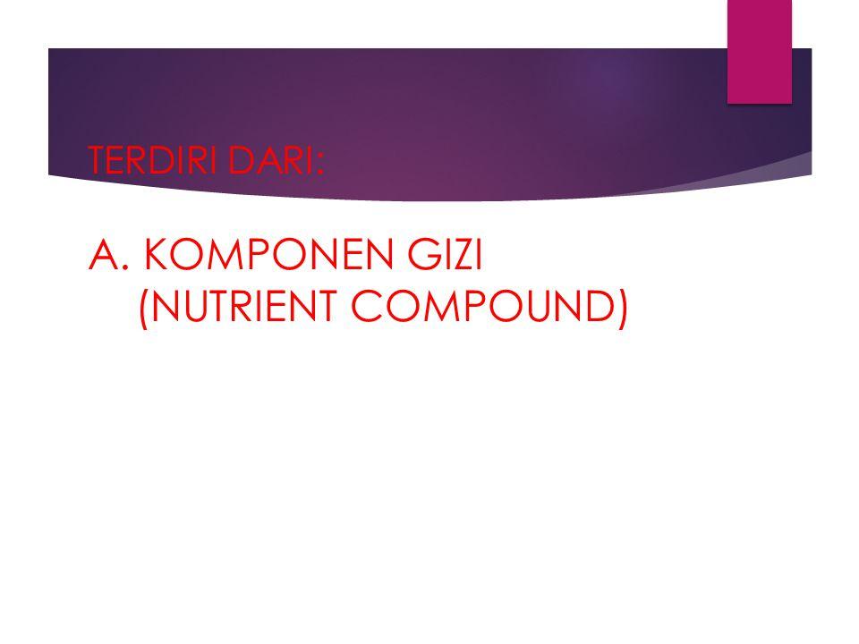TERDIRI DARI: A. KOMPONEN GIZI (NUTRIENT COMPOUND)