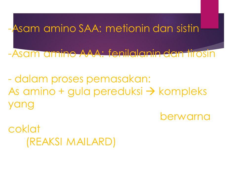 -Asam amino SAA: metionin dan sistin -Asam amino AAA: fenilalanin dan tirosin - dalam proses pemasakan: As amino + gula pereduksi  kompleks yang berwarna coklat (REAKSI MAILARD)