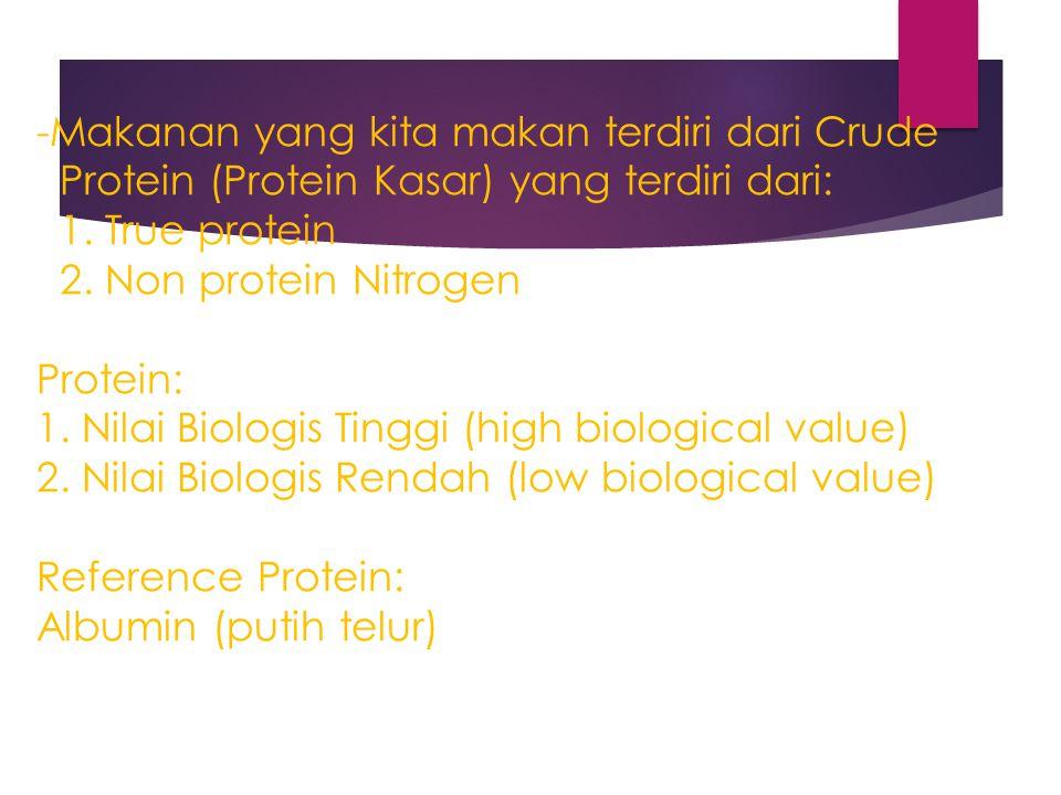 -Makanan yang kita makan terdiri dari Crude Protein (Protein Kasar) yang terdiri dari: 1. True protein 2. Non protein Nitrogen Protein: 1. Nilai Biolo