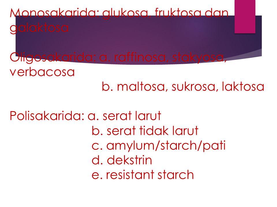 Monosakarida: glukosa, fruktosa dan galaktosa Oligosakarida: a. raffinosa, stakyosa, verbacosa b. maltosa, sukrosa, laktosa Polisakarida: a. serat lar