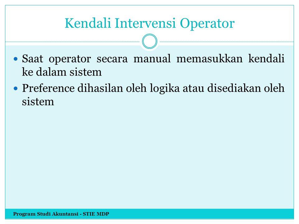 Kendali Intervensi Operator Saat operator secara manual memasukkan kendali ke dalam sistem Preference dihasilan oleh logika atau disediakan oleh siste
