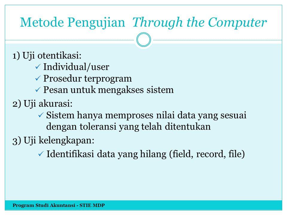 Metode Pengujian Through the Computer 1) Uji otentikasi: Individual/user Prosedur terprogram Pesan untuk mengakses sistem 2) Uji akurasi: Sistem hanya