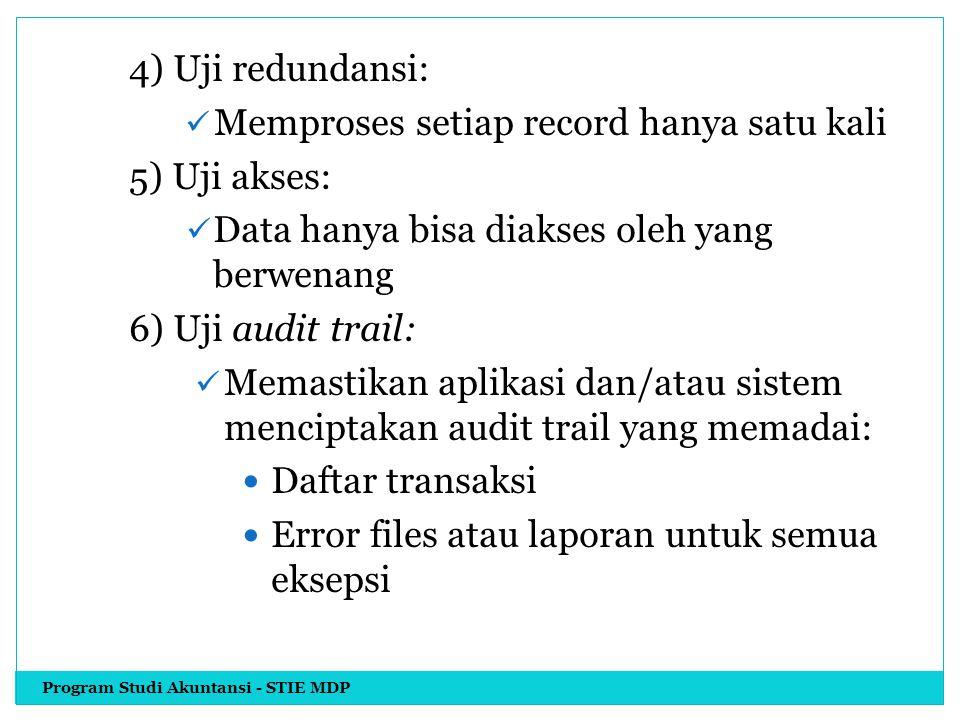 4) Uji redundansi: Memproses setiap record hanya satu kali 5) Uji akses: Data hanya bisa diakses oleh yang berwenang 6) Uji audit trail: Memastikan ap