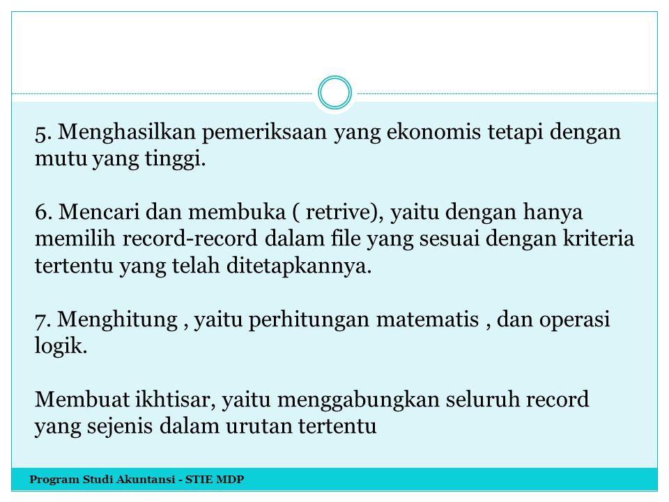 5. Menghasilkan pemeriksaan yang ekonomis tetapi dengan mutu yang tinggi. 6. Mencari dan membuka ( retrive), yaitu dengan hanya memilih record-record