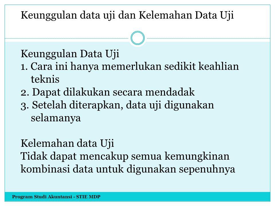 Keunggulan data uji dan Kelemahan Data Uji Keunggulan Data Uji 1. Cara ini hanya memerlukan sedikit keahlian teknis 2. Dapat dilakukan secara mendadak