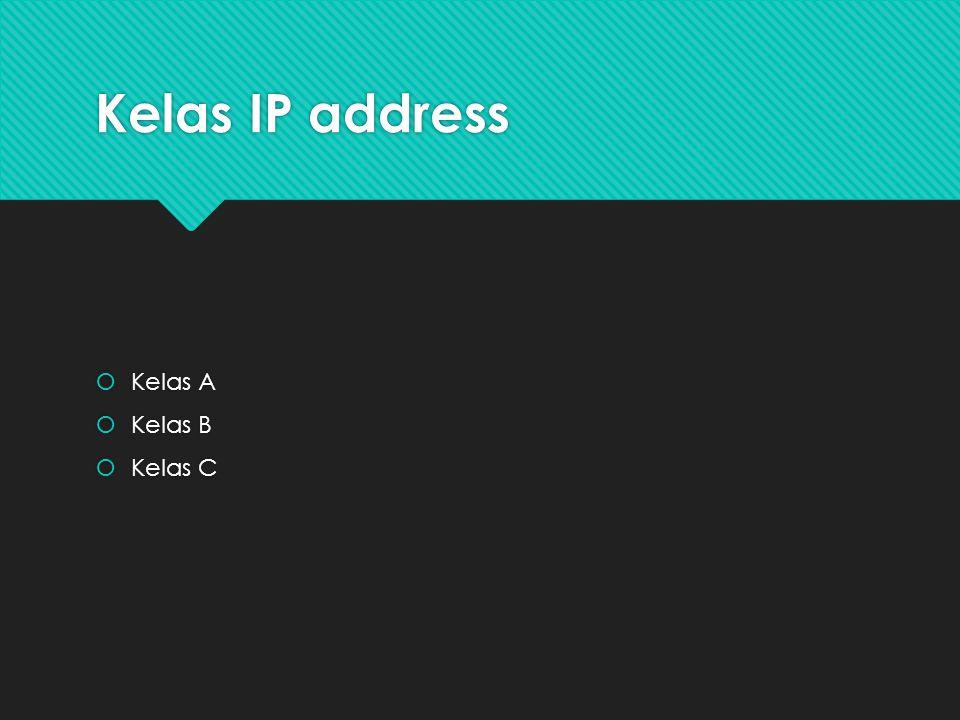 Kelas IP address  Kelas A  Kelas B  Kelas C  Kelas A  Kelas B  Kelas C