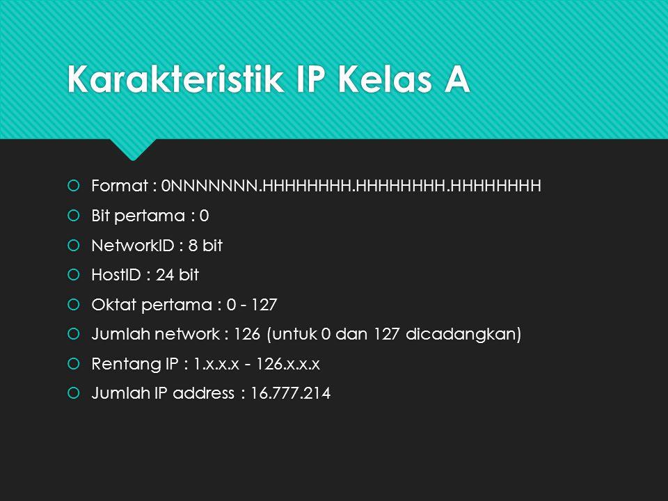 Karakteristik IP Kelas A  Format : 0NNNNNNN.HHHHHHHH.HHHHHHHH.HHHHHHHH  Bit pertama : 0  NetworkID : 8 bit  HostID : 24 bit  Oktat pertama : 0 -