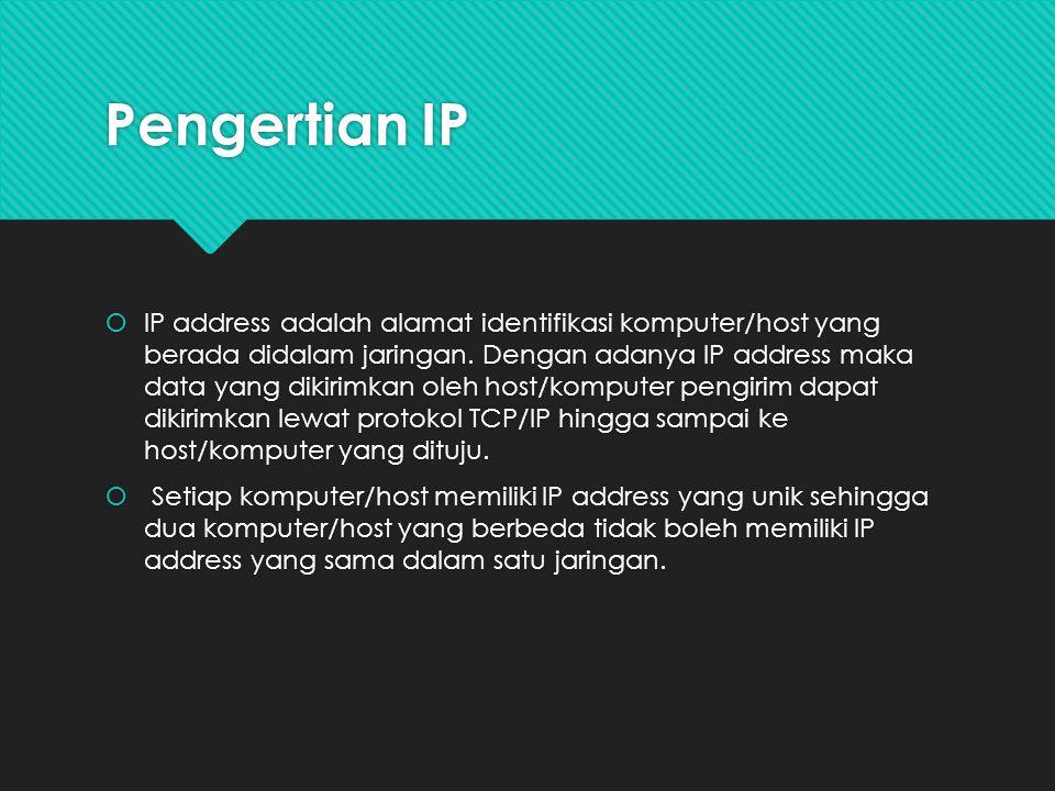 PengertianIP  IP address adalah alamat identifikasi komputer/host yang berada didalam jaringan. Dengan adanya IP address maka data yang dikirimkan ol