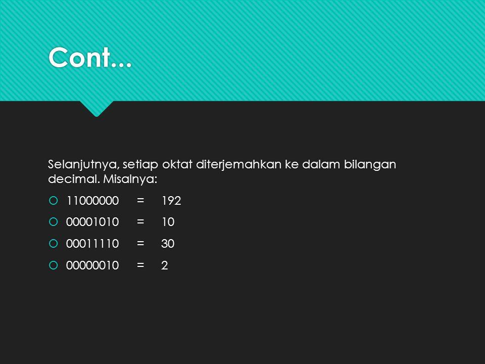 Cont... Selanjutnya, setiap oktat diterjemahkan ke dalam bilangan decimal. Misalnya:  11000000 = 192  00001010 = 10  00011110 = 30  00000010 = 2 S