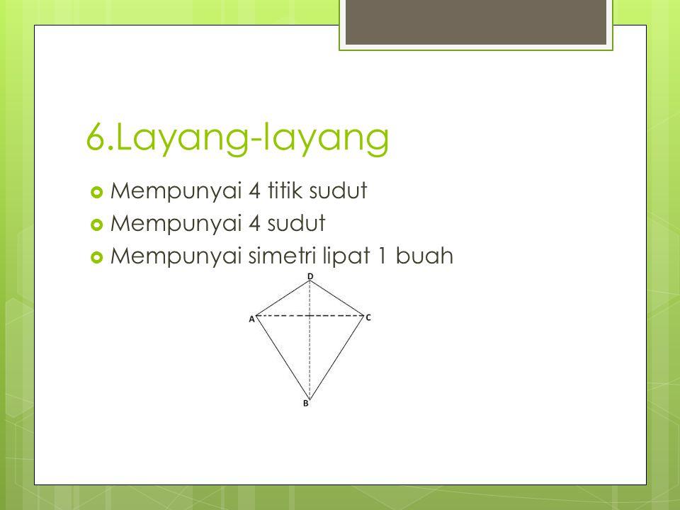 6.Layang-layang  Mempunyai 4 titik sudut  Mempunyai 4 sudut  Mempunyai simetri lipat 1 buah