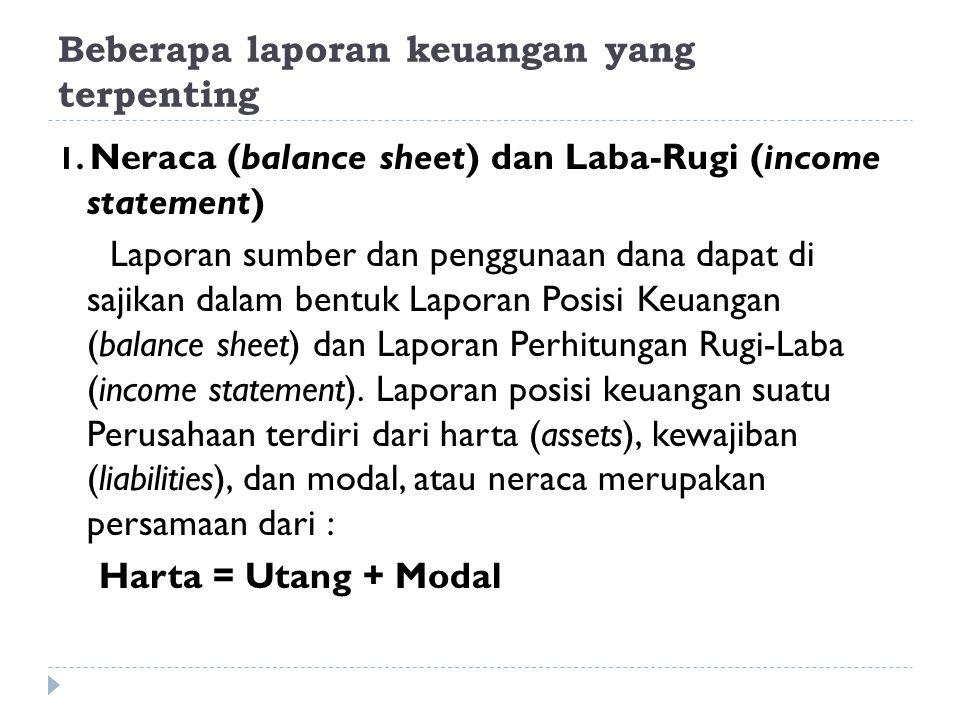 Beberapa laporan keuangan yang terpenting 1. Neraca (balance sheet) dan Laba-Rugi (income statement) Laporan sumber dan penggunaan dana dapat di sajik