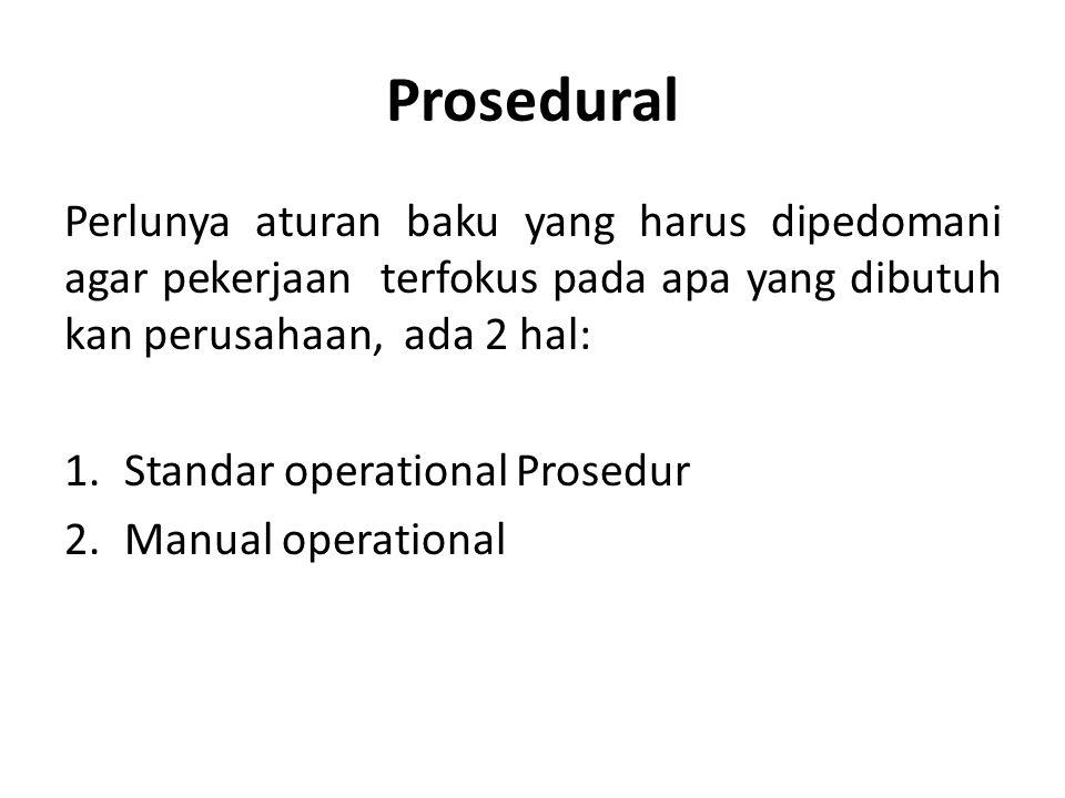 Prosedural Perlunya aturan baku yang harus dipedomani agar pekerjaan terfokus pada apa yang dibutuh kan perusahaan, ada 2 hal: 1.Standar operational P