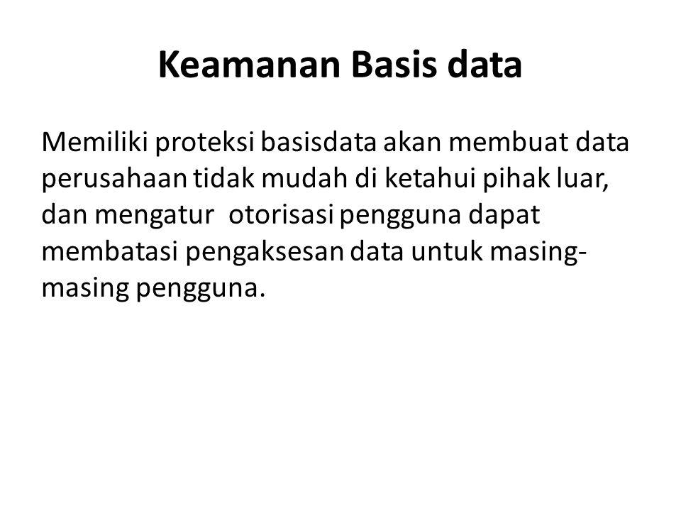 Keamanan Basis data Memiliki proteksi basisdata akan membuat data perusahaan tidak mudah di ketahui pihak luar, dan mengatur otorisasi pengguna dapat
