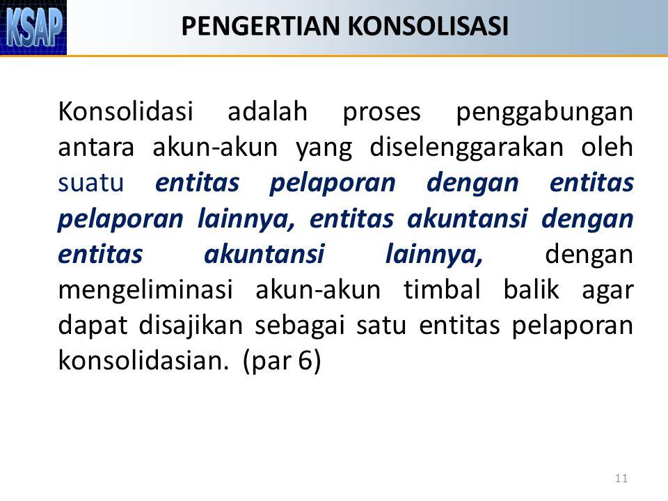 PENGERTIAN KONSOLISASI Konsolidasi adalah proses penggabungan antara akun-akun yang diselenggarakan oleh suatu entitas pelaporan dengan entitas pelapo